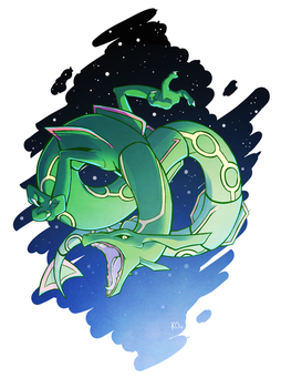 Favorite Dragon Type: Rayquaza by TheArtsyAxolotl