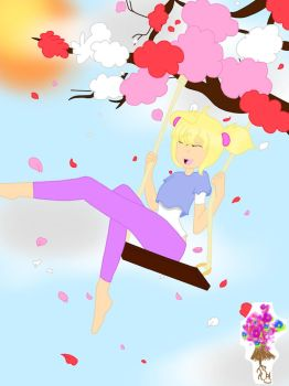 Swinging On Cherry Blossoms (for sale) by Anime2Getha4Eva