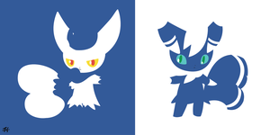Meowstic (Pokemon) Minimalist Wallpaper