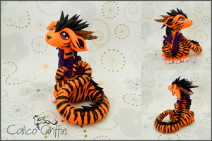 Tiger Cayo Dragon - polymer clay sculpture by CalicoGriffin