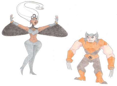 Storm and Wolvie by Dead-Raccoons