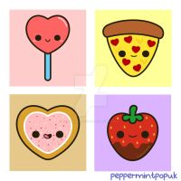 Cute food themed Valentine illustrations by peppermint-pop-uk