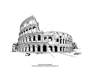 The Roman Colosseum - One Line Drawing - 16 x 20 by SlotsArtStudio