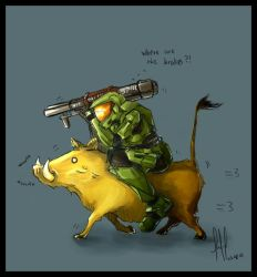 Halo - Master Chief vs Warthog by Aucifiel