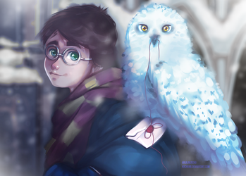 Harry Potter and Hedwig by LalaKachu