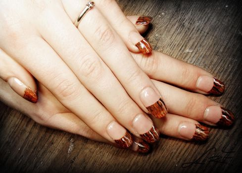 Wood Texture Gel Nails by Undomiele