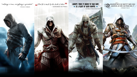 Assassin's Creed: Altair, Ezio, Connor and Edward by okiir