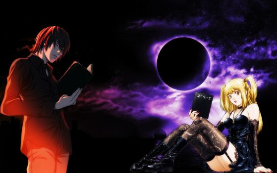 Death Note Light Yagami and Misa Amane Wallpaper by ryu17v