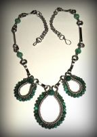 Malachite, green agate and st. steel necklace by marsvar