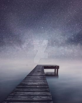 Boat Jetty - Stars Night sky by AStoKo
