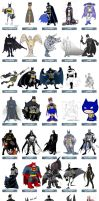 One Character Lineup : Batman by striffle