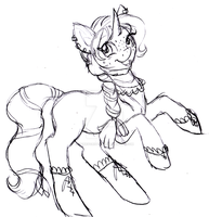 Gift sketch: Pretty prancing pony by Honeycrisp1012
