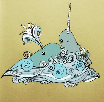 narwhals and whales by flowersforthoughts