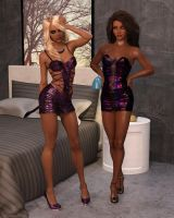 Emma and Celeste - Ready for a Glamour Party Night by Cosmics-3D-Angels