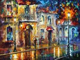 Under Umbrella by Leonid Afremov by Leonidafremov