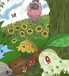 Some Pokemon in a flower field by Teejii