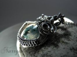 Moss Agate Silver wire wrapped necklace by nurrgula