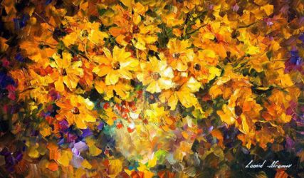 Yellow Bouquet by Leonid Afremov by Leonidafremov