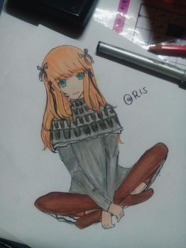 a girl with grey dress drawing by Risartz