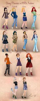 Disney Princesses in 1990s Fashion by Basak Tinli by BasakTinli