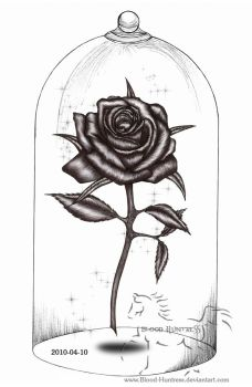 Rose Pen Drawing With Glass by Blood-Huntress