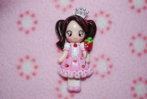 Strawberry princess fimo necklace by Libellulina