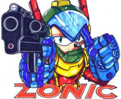 zonic and his trusty gun by trunks24