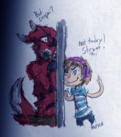 Pewds beats Foxy to the door by MotherofOnity