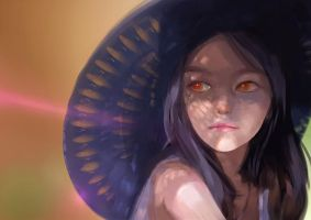 Girl Under Hat by tanhuitian