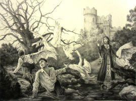 The Six Swans Drawing by AndrewRyanArt