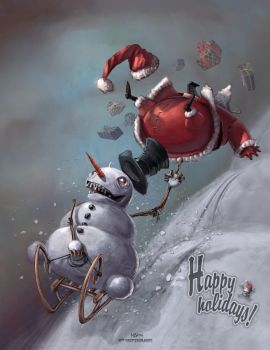 Snowman vs Santa by Kai-S