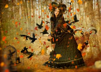 The Goat Witch And Her Crows by TheFantaSim