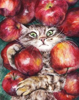 Apple cat by AnnaShell