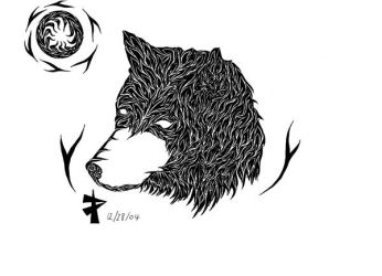 Tribal Wolf Head by transcendence1