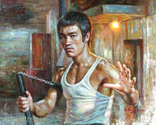 Bruce Lee Portrait Painting by Drawing-Portraits