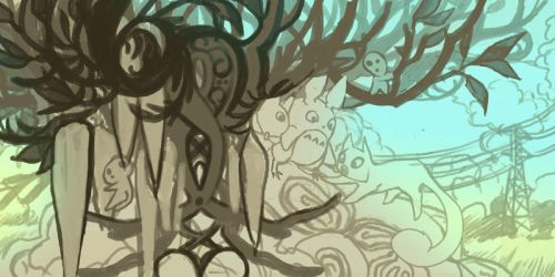 Totoro and Secret of Kells rough draw by blix-it