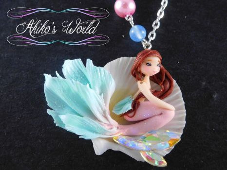 Pink and mint/turquoise mermaid by Akiko-s-World