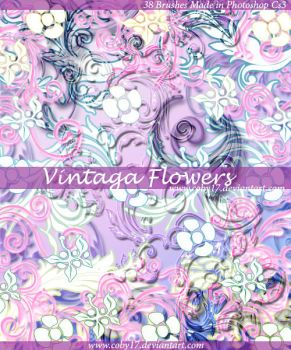 Vintage Flowers Brushes by Coby17