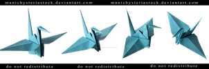Paper Crane Cyan Cut Out by ManicHysteriaStock