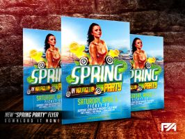 Spring Party Flyer PSD Template by pawlowskiart