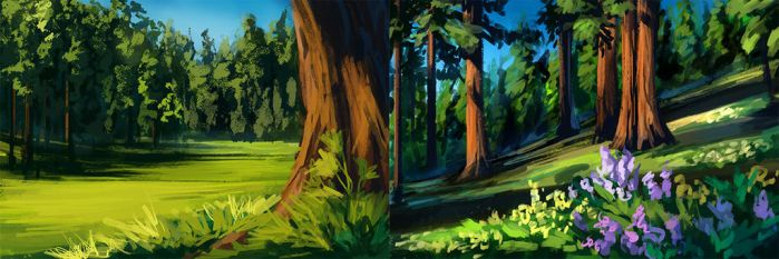 Forest speedpaint practice by Chickenbusiness