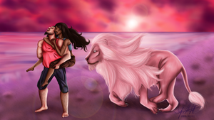 Connie, Steven, and Lion on the Beach by graphically-ill