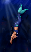 Down into the depth [Mermaid] by DraDragonTear