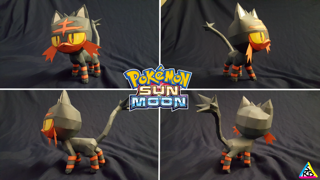 Pokemon Sun and Moon Papercraft: Litten V2 by SuperRetroBro