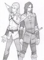 Legolas and Aragorn by chrysalisgrey