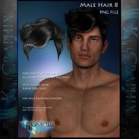 Male Hair 8 Painted Instant hair PNG add on stock by MakeMeMagical