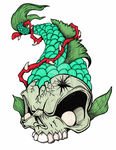 Green Skeleton Fish by MyHeadWonders