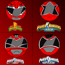 Power rangers helmets in my style part 1 (red) by Badrater