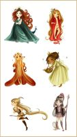 Six main chibi goddesses by Arbetta