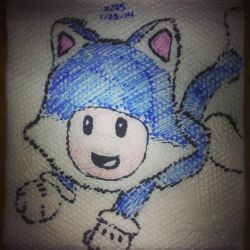 Napkin Art 285 - Toad Cat - Super Mario World 3D by PeterParkerPA